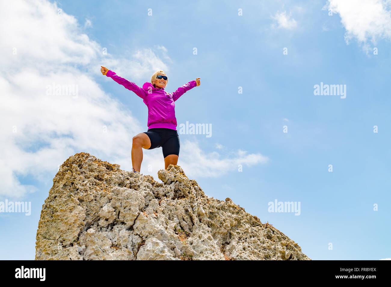 Acomplishment success achievement running or hiking accomplishment