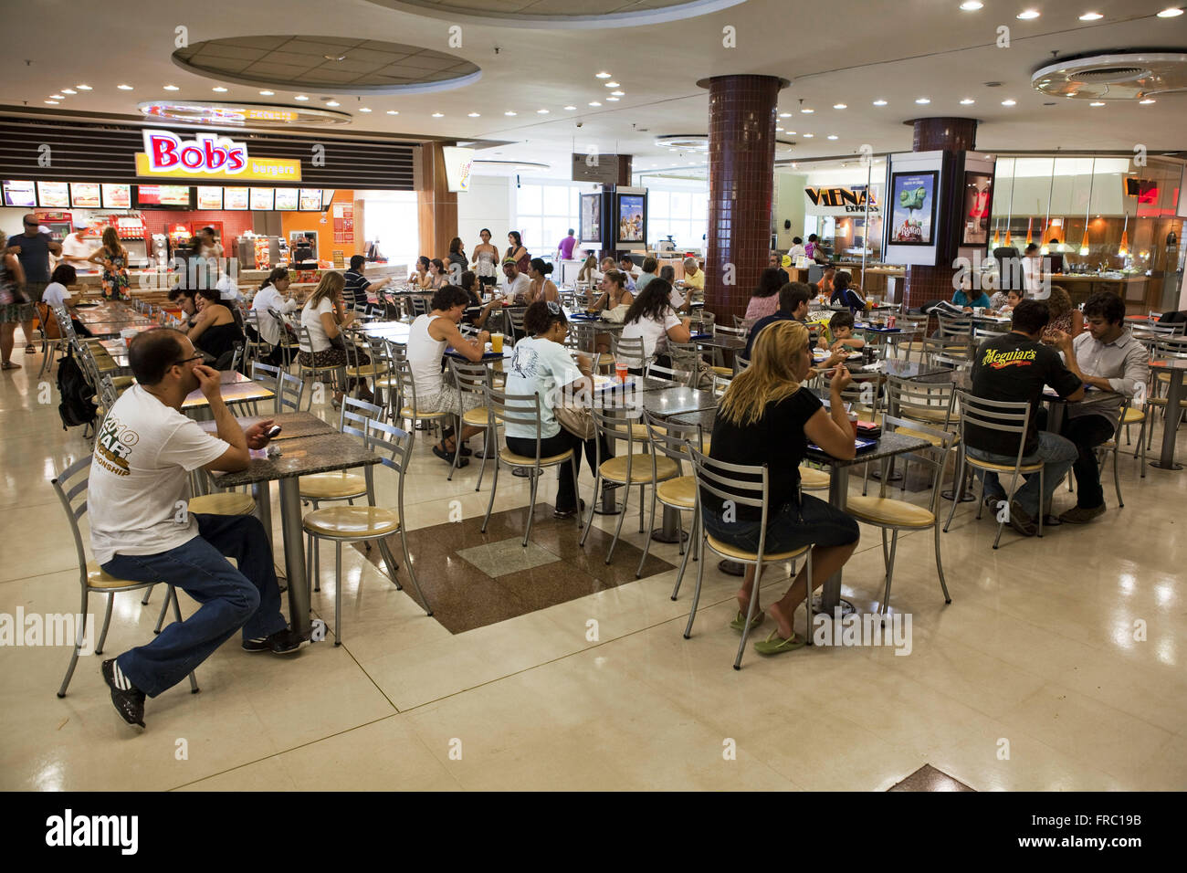Food court in shopping mall in Botafogo neighborhood - south of the city of Rio de Janeiro - Stock Image