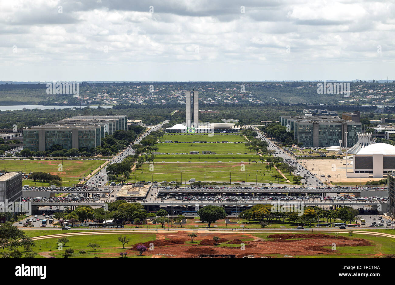 Top view of the Monumental Axis from the TV Tower - Stock Image