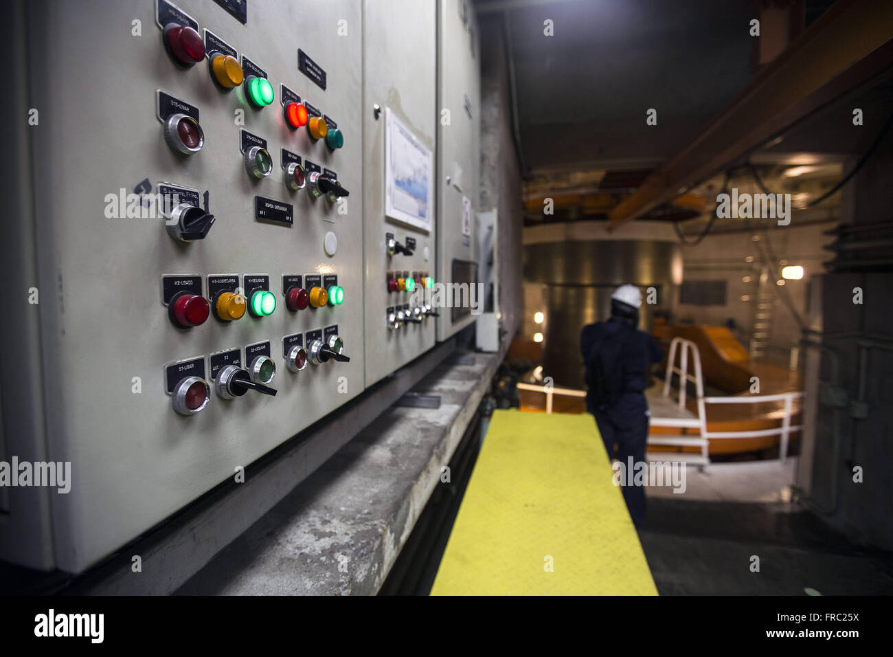 Axis of the panel of one of the turbines in the station building Production of Itaipu Hydroelectric Power Plant - Stock Image