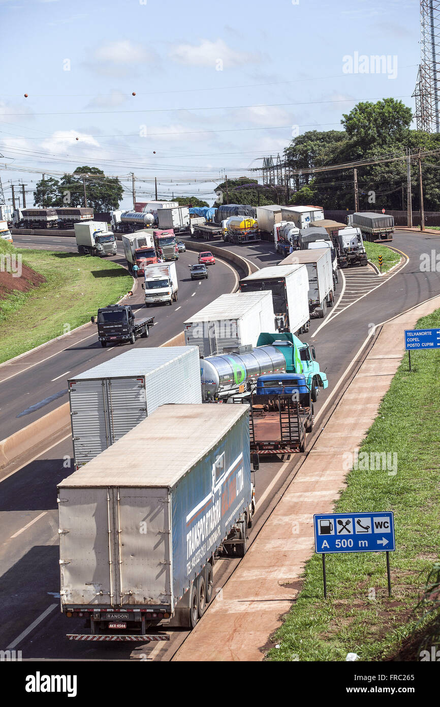 Highway PR-445 banned due to the protest of truck - Stock Image