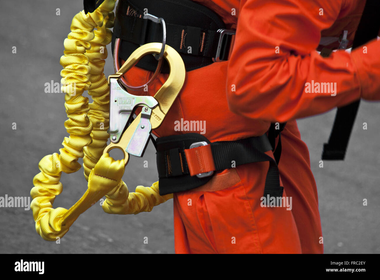 Workman with safety equipment - Stock Image