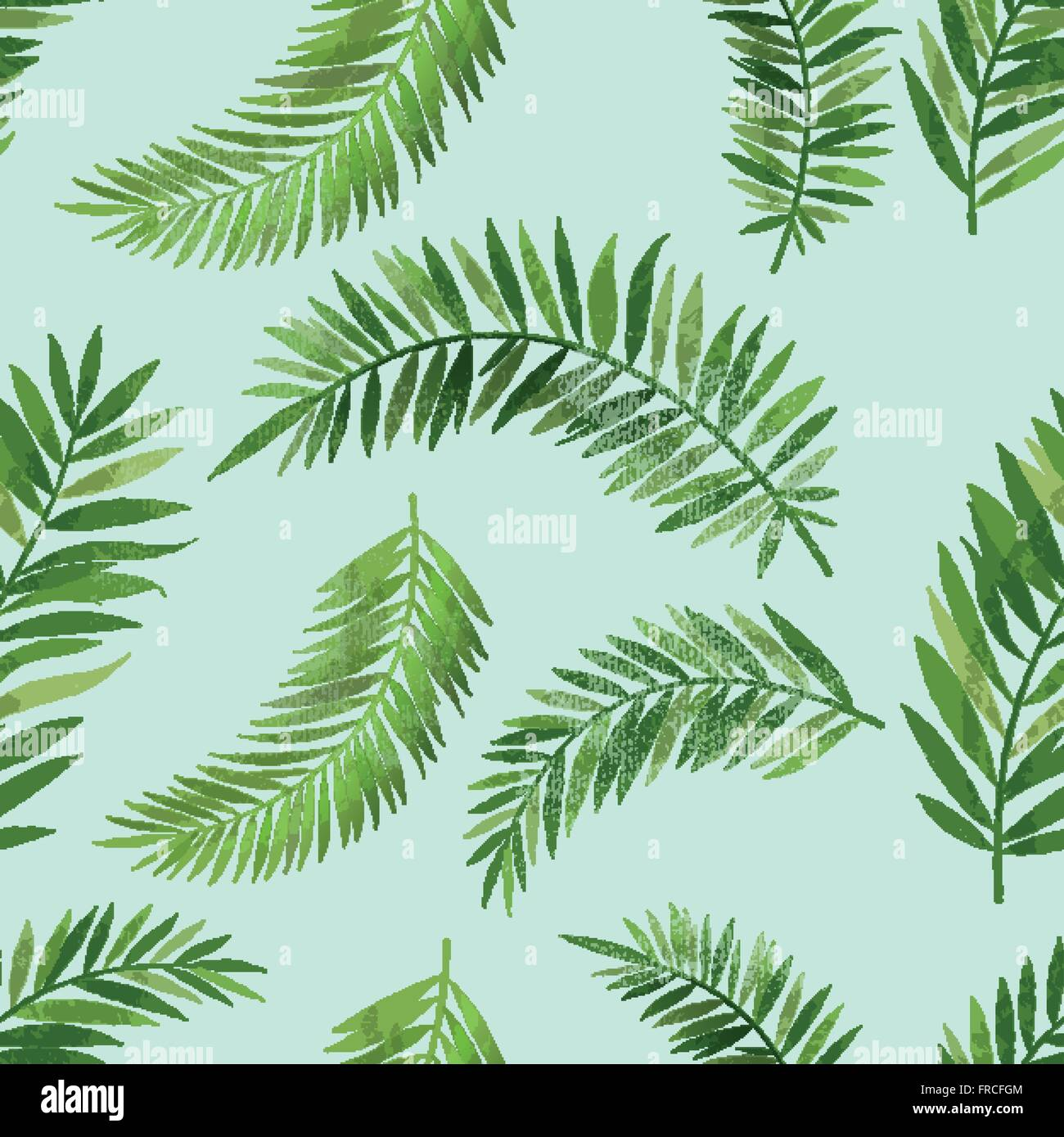 Vintage Seamless tropical palm leaf pattern with texture effect. Vector background illustration. - Stock Image