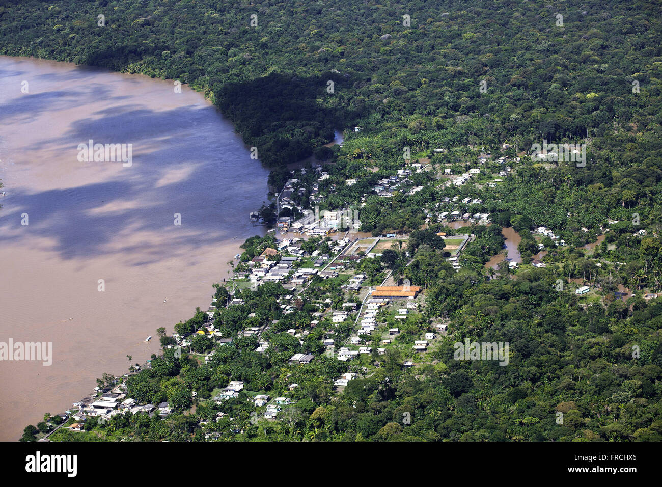 Aerial view of Vila Progresso - Brig Island - Archipelago of Bailique - Stock Image