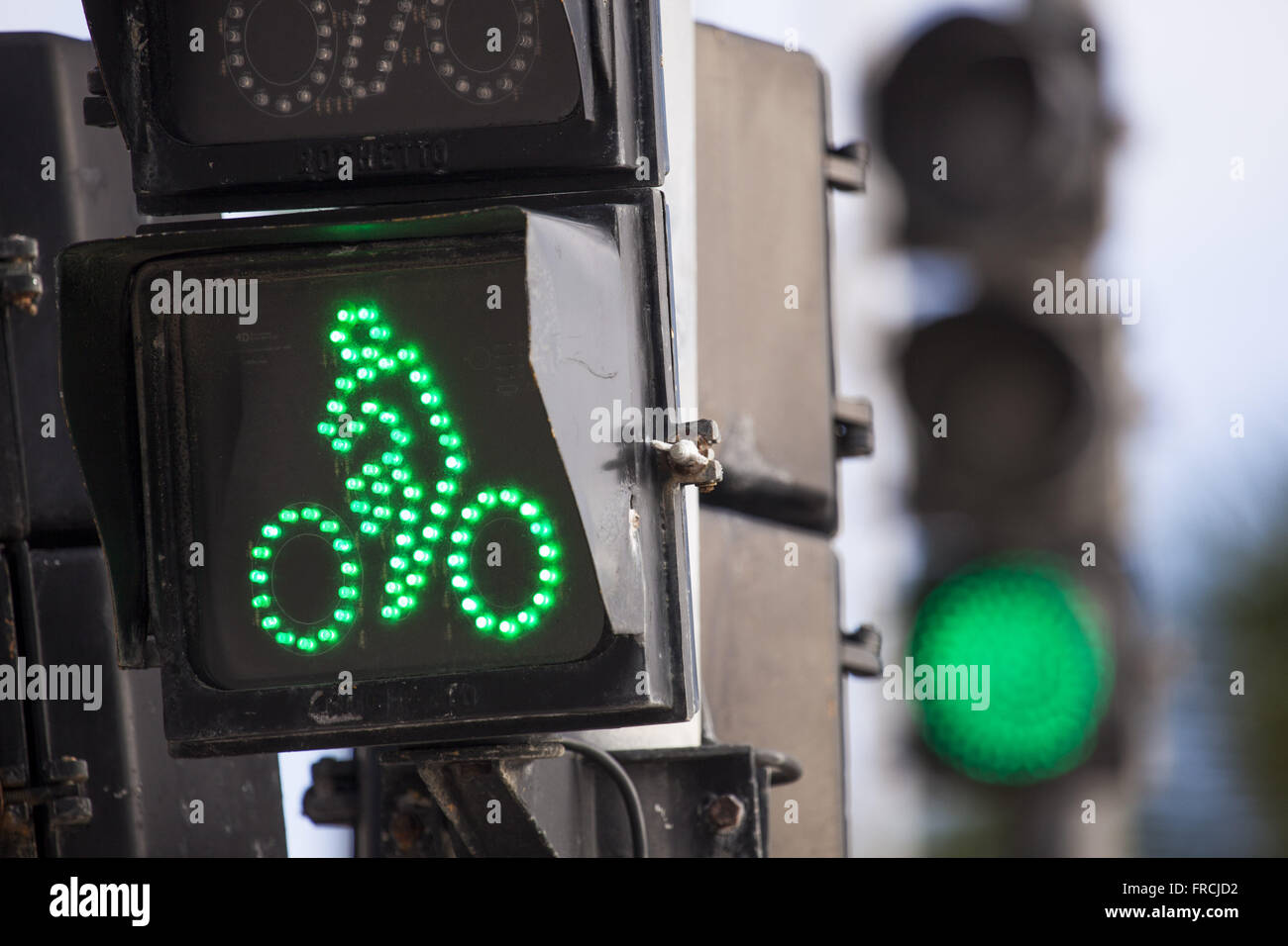 Green traffic lights for bicycle traffic on the street of Praia de Boa Viagem - Stock Image