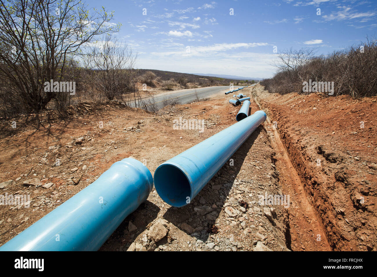 Pipe laying on the side of Route 320 for PE-Pipeline of Pajeu - Stock Image