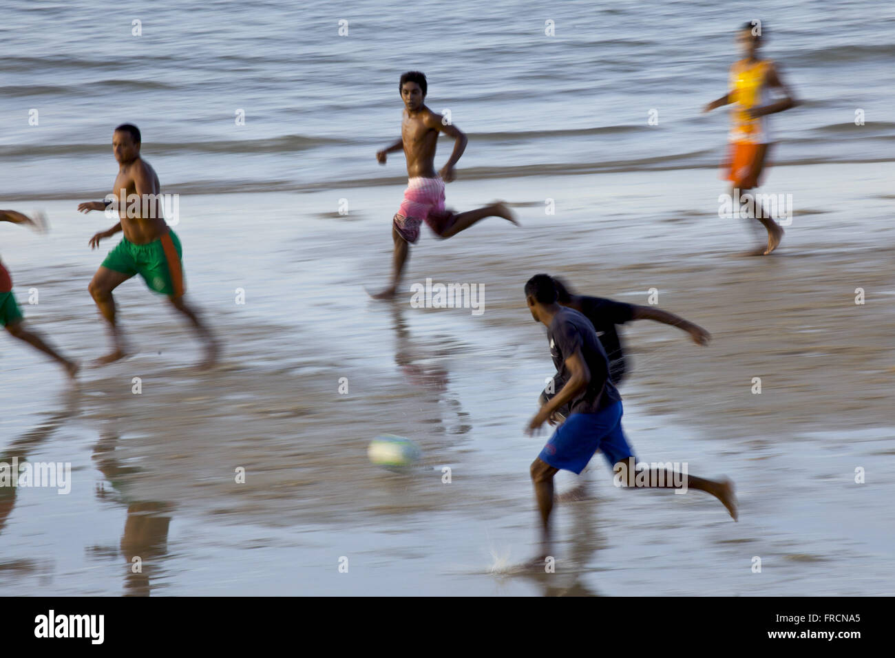 Football game on the Beach Centre - District of Pipa - Stock Image