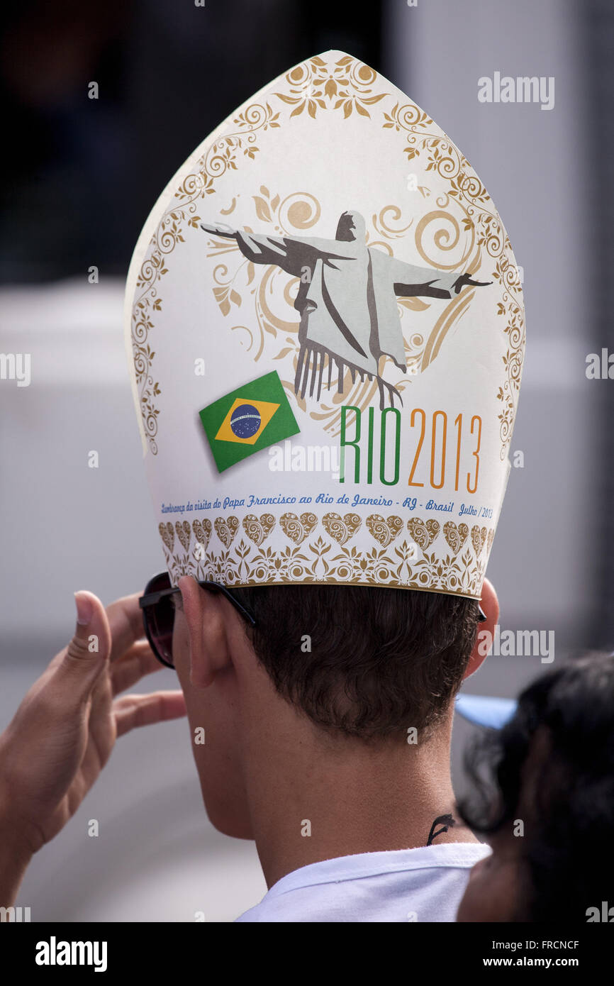 Young woman with a replica miter - hat worn by the pope - in World Youth Day Rio 2013 Stock Photo