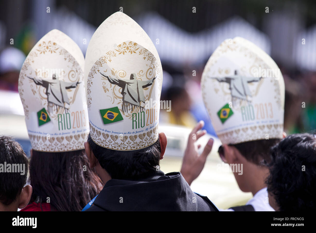 Youth with replica miter - hat worn by the pope - in World Youth Day Rio 2013 Stock Photo