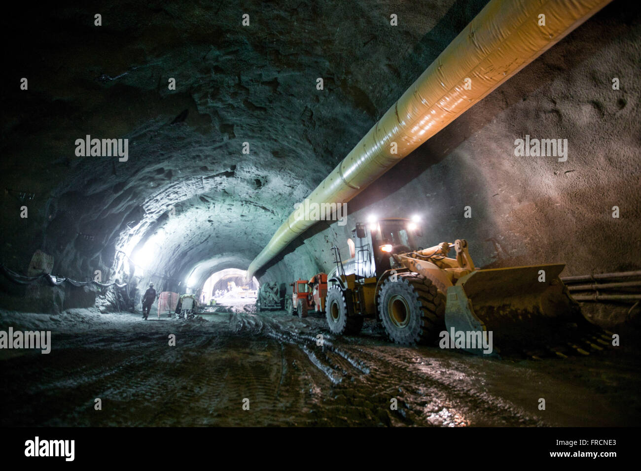 Tunnel construction in the Health section Binary Via Porto - work of viario system Marvelous Port - Stock Image