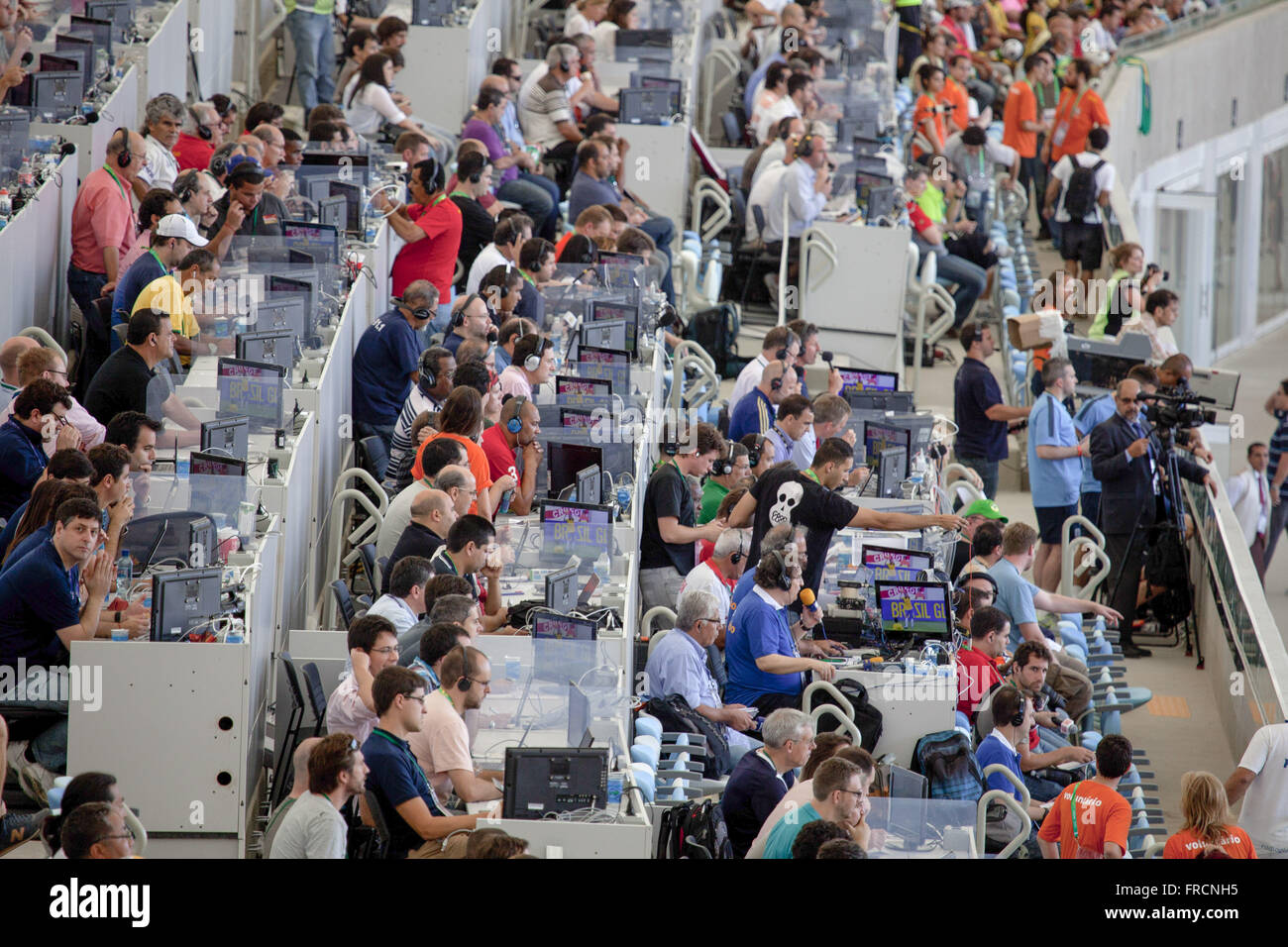 Tribune press at Estadio do Maracana during the friendly match between Brazil and England - Stock Image