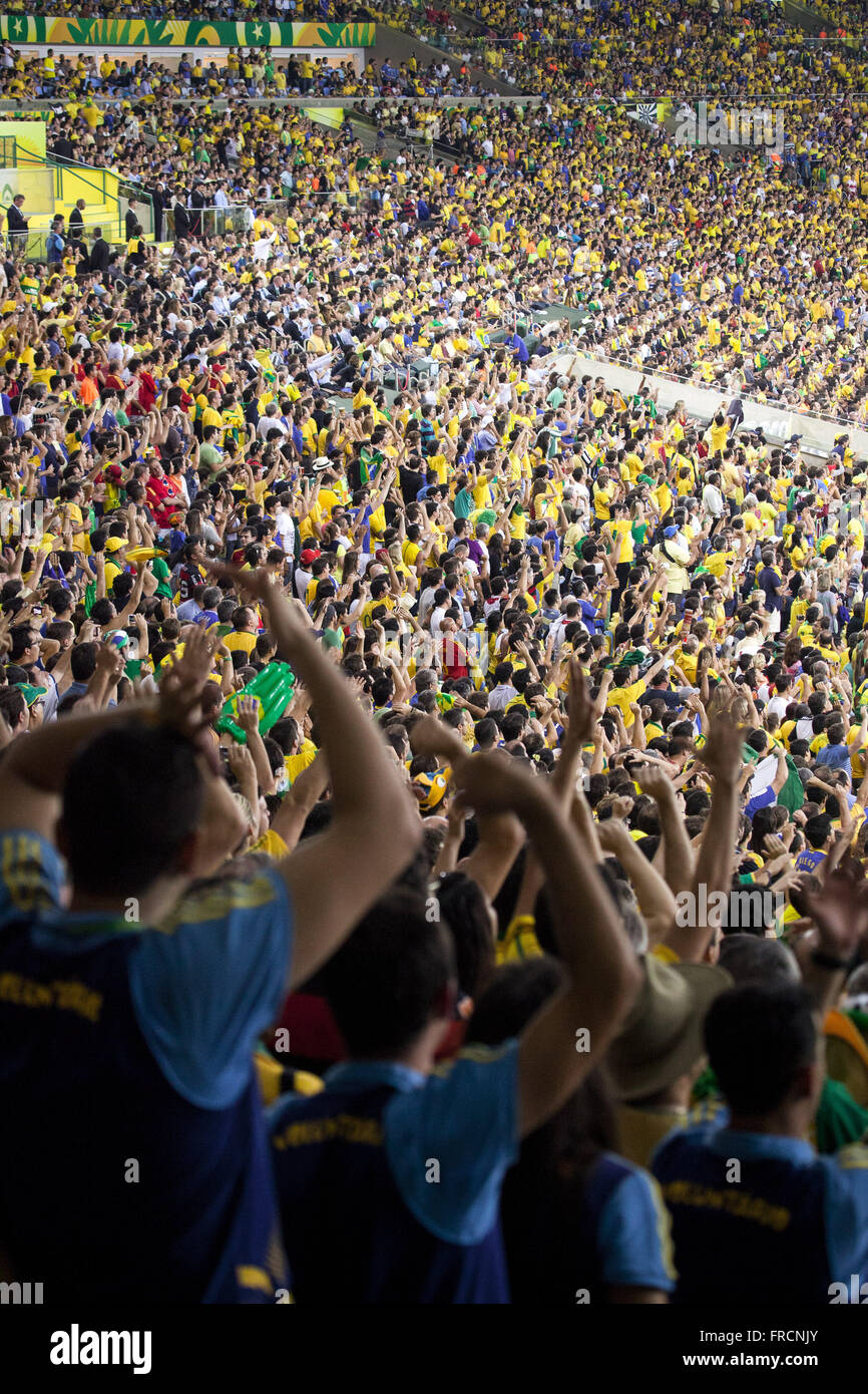 Fans in the match between Brazil and Spain for the final of the Confederations Cup - Stock Image