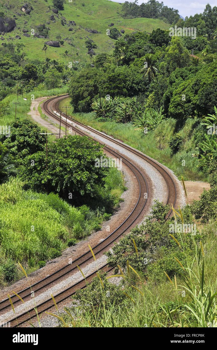 Rail network known as Road Ferroviaria Vitoria a Minas - EFVM - Stock Image