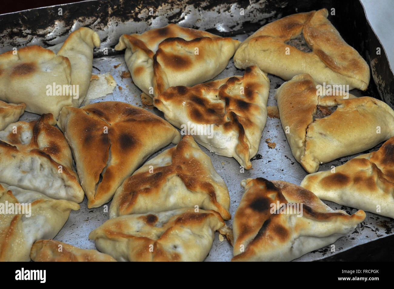 Esfihas in Chefs Gastronomic Festival held at the Praca Praca Carlos Gomes - Stock Image