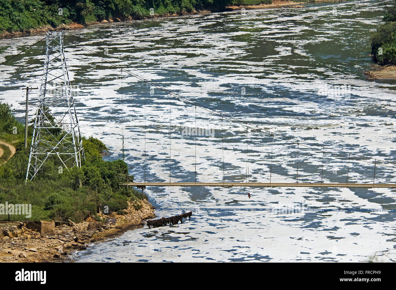 Foam caused by detergent in the Tietê River - Stock Image