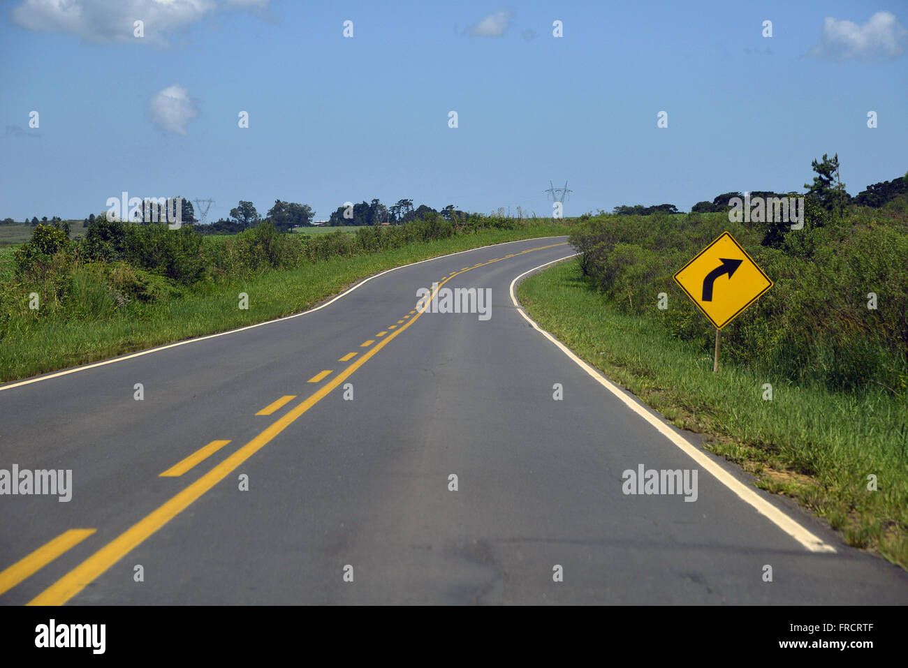 PR-340 highway Sady Francisco de Brito with side signals indicating right turn - Stock Image