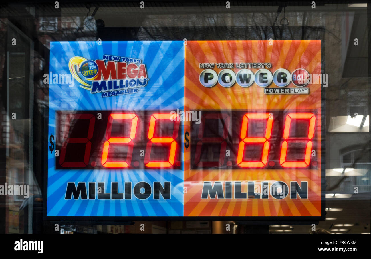 Mega Million Ny Lottery And Powerball Ny Lottery Signs In A Shop Stock Photo Alamy