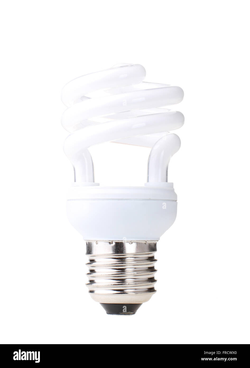 Energy efficient compact fluorescent light globe isolated on a white background. - Stock Image