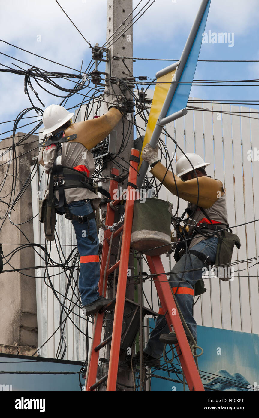 Maintenance of the power grid in the city of Juazeiro center - Ceara Stock Photo