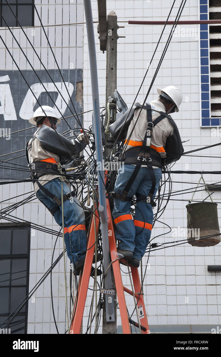 Maintenance of the power grid in the city of Juazeiro do Norte Hotel - Ceara Stock Photo