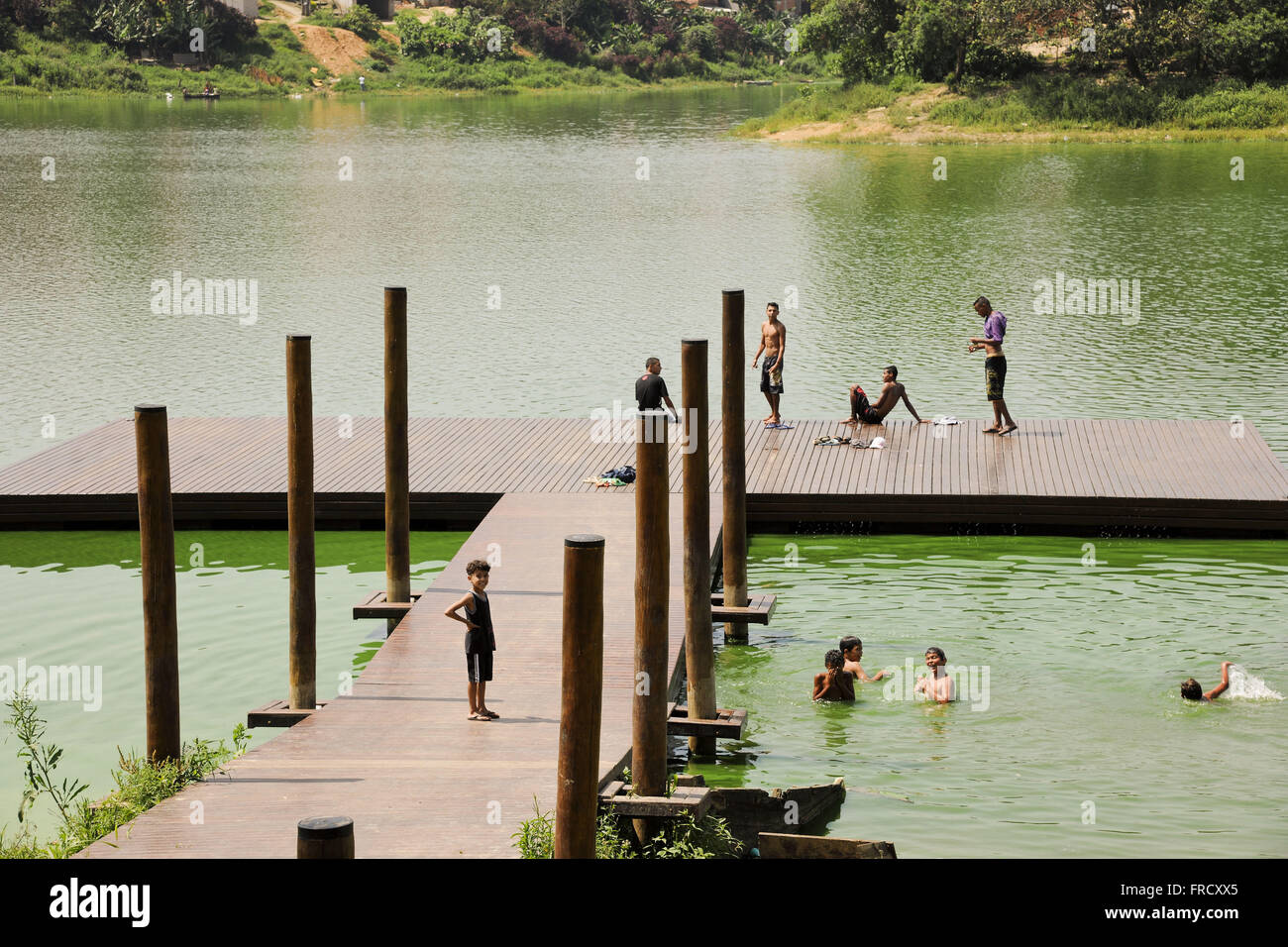 Deck for leisure living in the urbanized area of the Watershed Program - Stock Image
