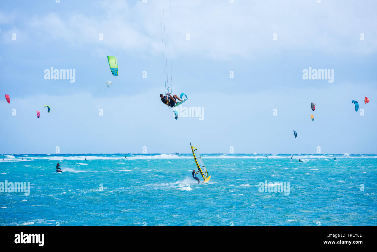 Boracay island, Philippines - January 25: kitesurfers and windsurfers enjoying wind power on Bulabog beach. - Stock Image