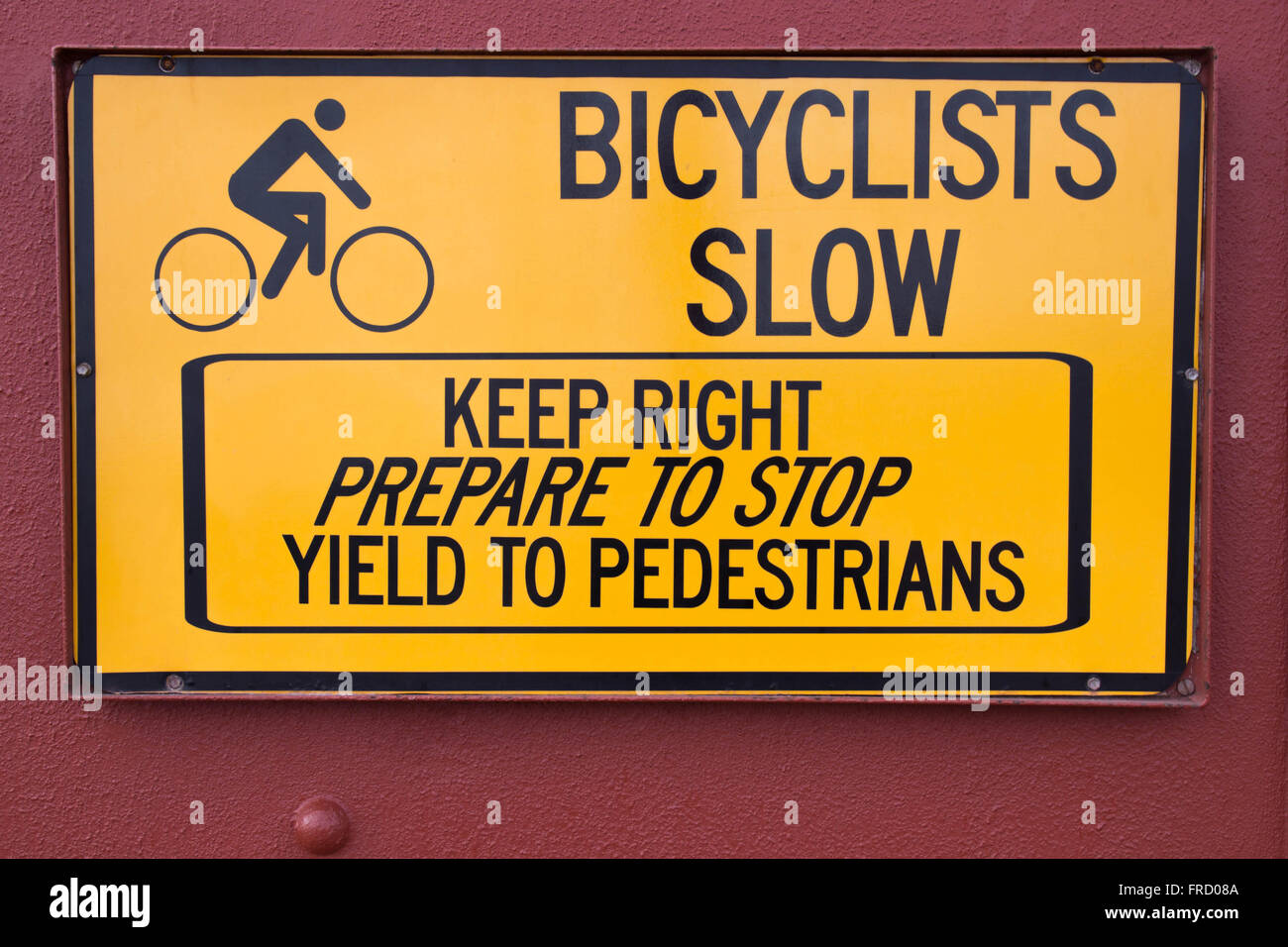 Bicyclists Sign on Golden Gate Bridge - Stock Image
