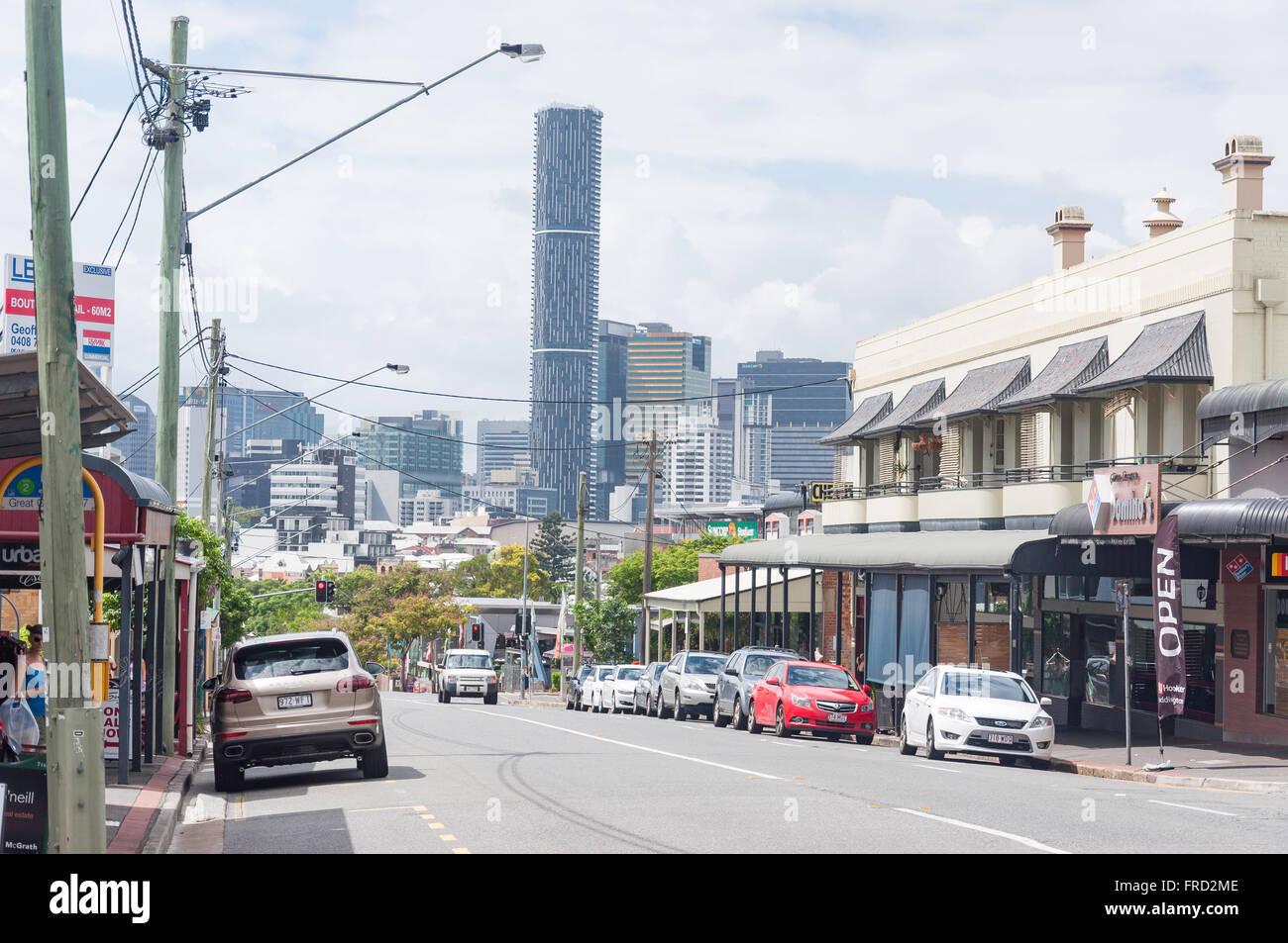Downtown CBD from Given Terrace, Paddington, Brisbane, Queensland, Australia - Stock Image