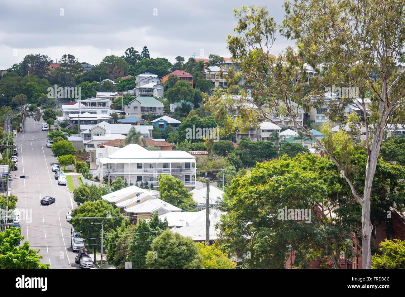 Houses on Great George Street in suburb of Paddington, Brisbane, Queensland, Australia - Stock Image