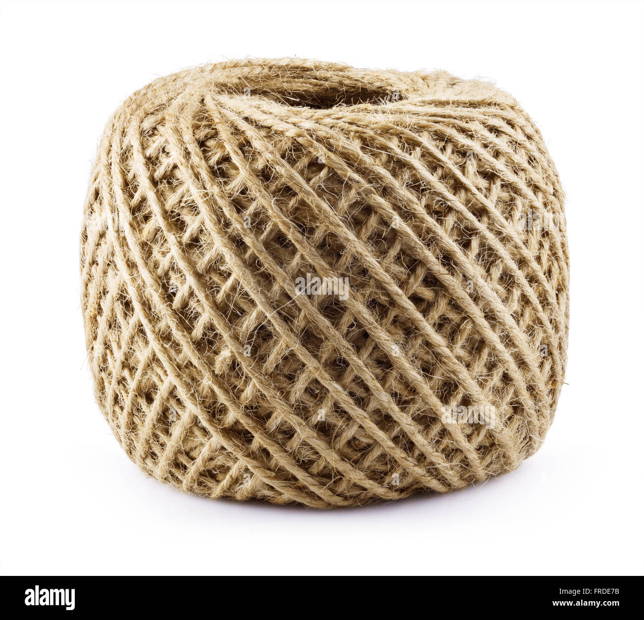 Skein of jute twine isolated on white background. Clipping Path - Stock Image