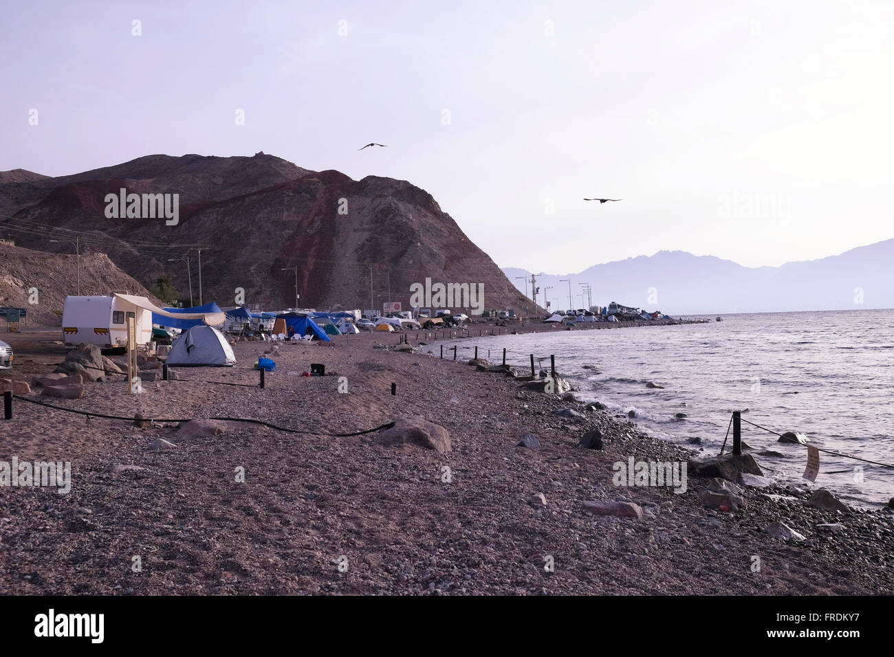 A campsite at the southern shore of the city of Eilat located at the northern tip of the Red Sea Israel - Stock Image