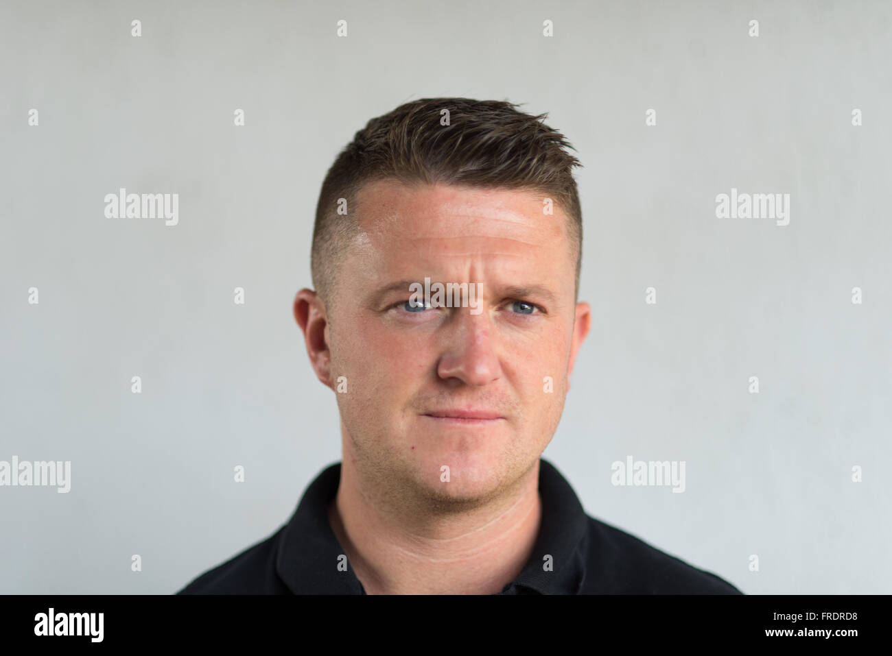 Tommy Robinson aka Stephen Yaxley Lennon, former EDL leader, political activist, author and Rebel Media contributor - Stock Image