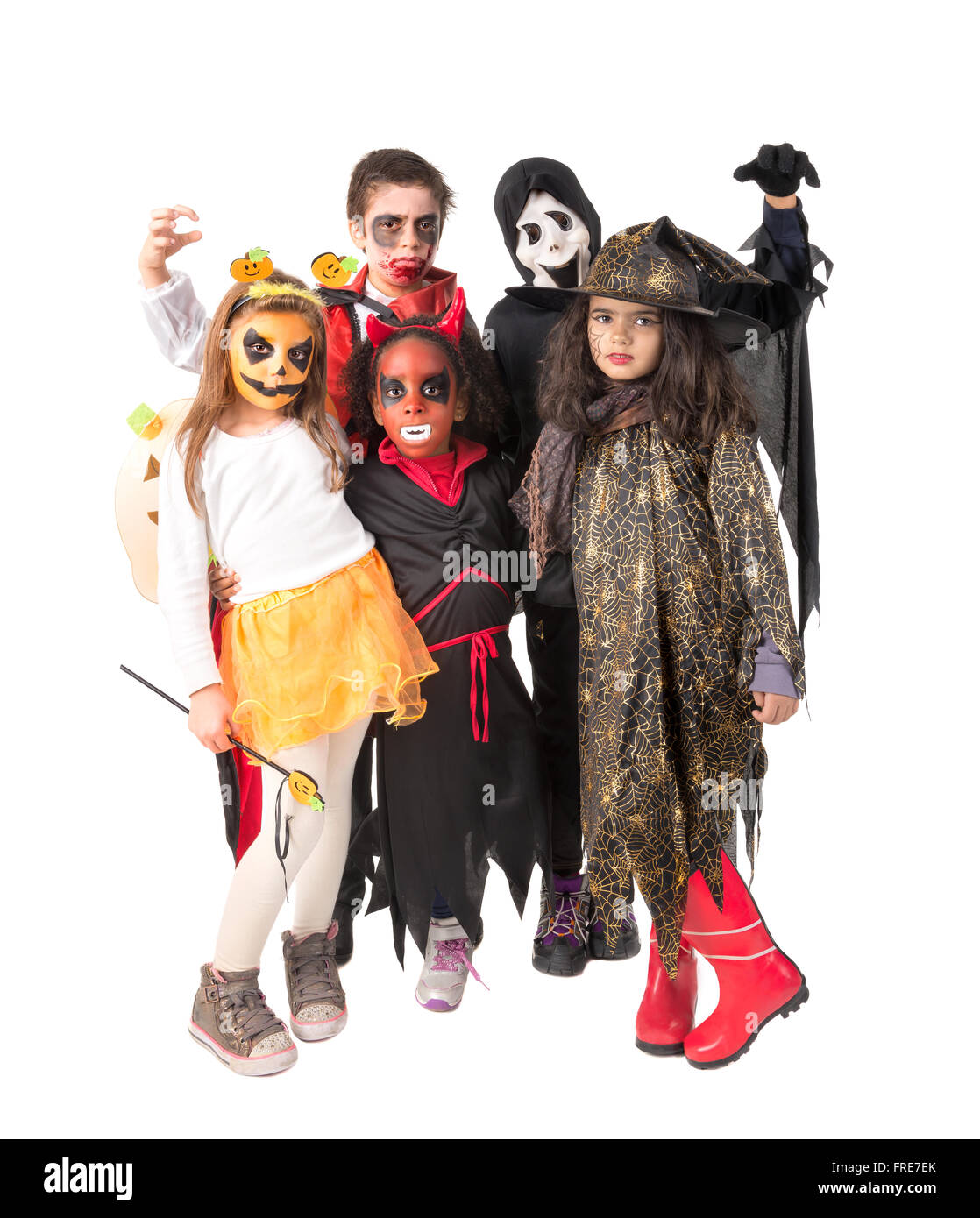 Group of kids with face-paint and Halloween costumes  sc 1 st  Alamy & Group of kids with face-paint and Halloween costumes Stock Photo ...