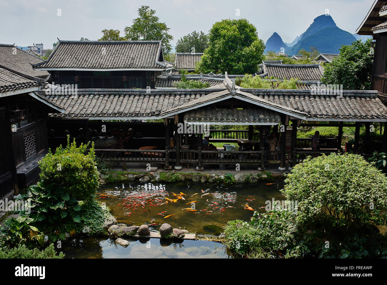 traditional house of Shangri La between Guilin and Yangshuo in Guangxi province  China - Stock Image
