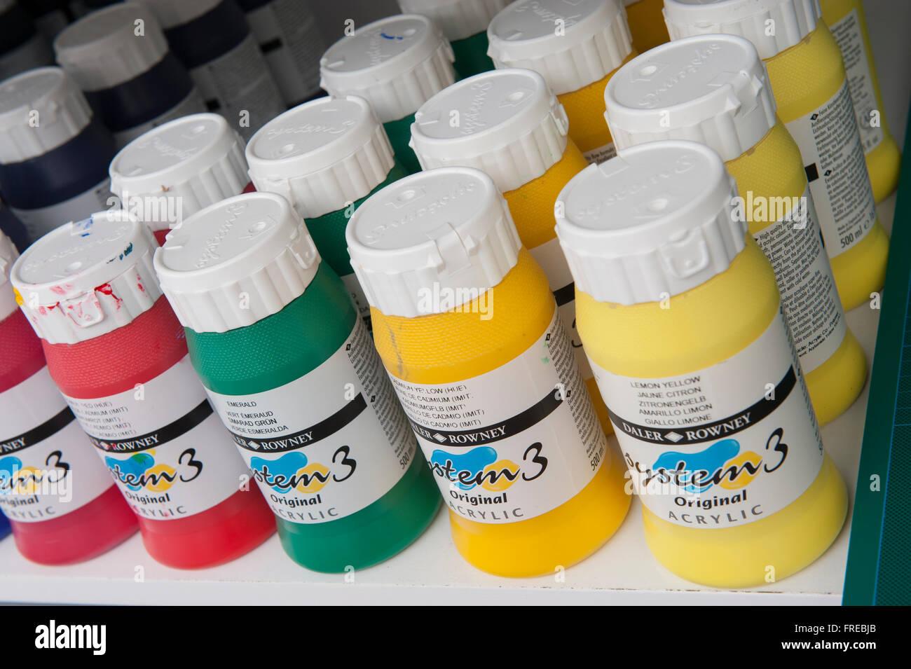 Bottles of acrylic paint - Stock Image