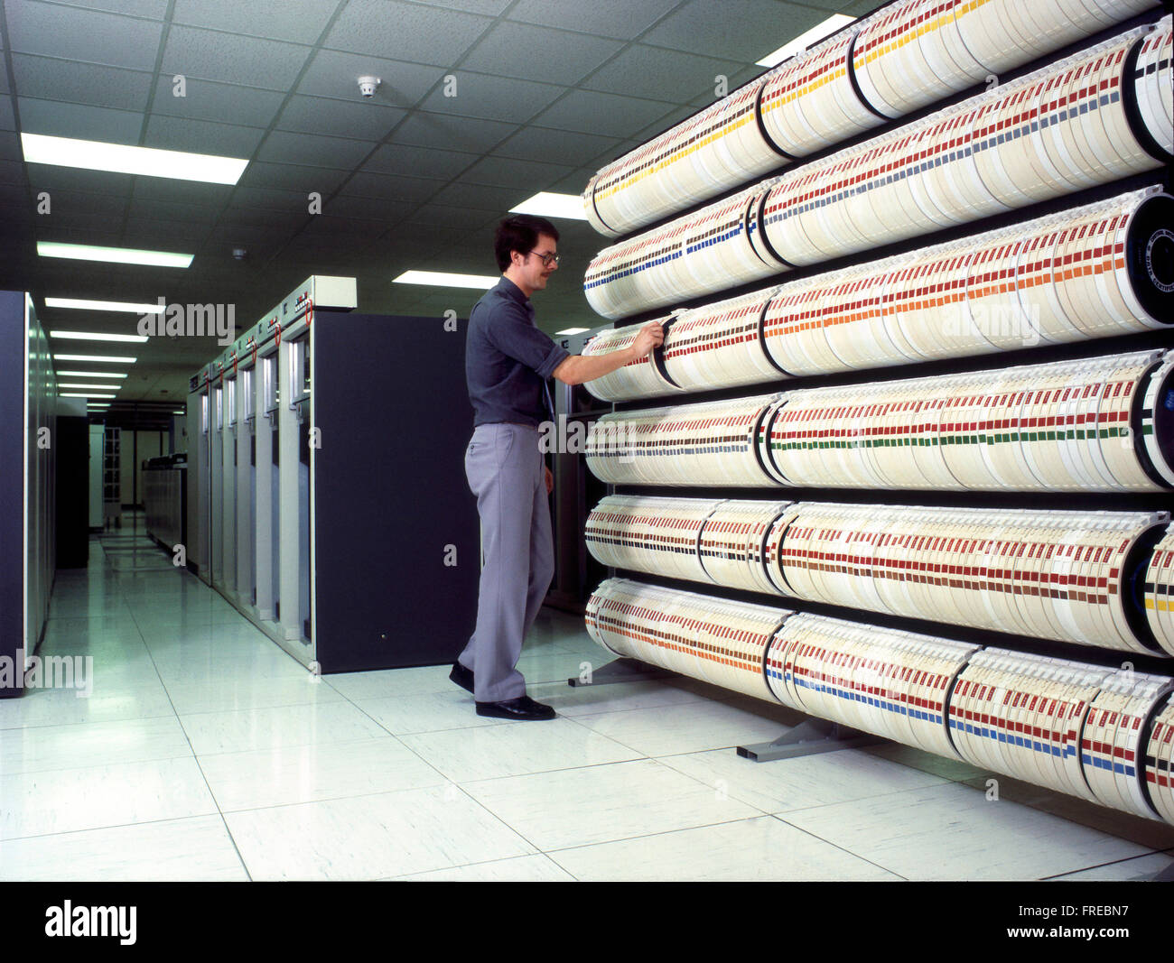 Magnetic tape drive storage for early computer mainframe system - Stock Image