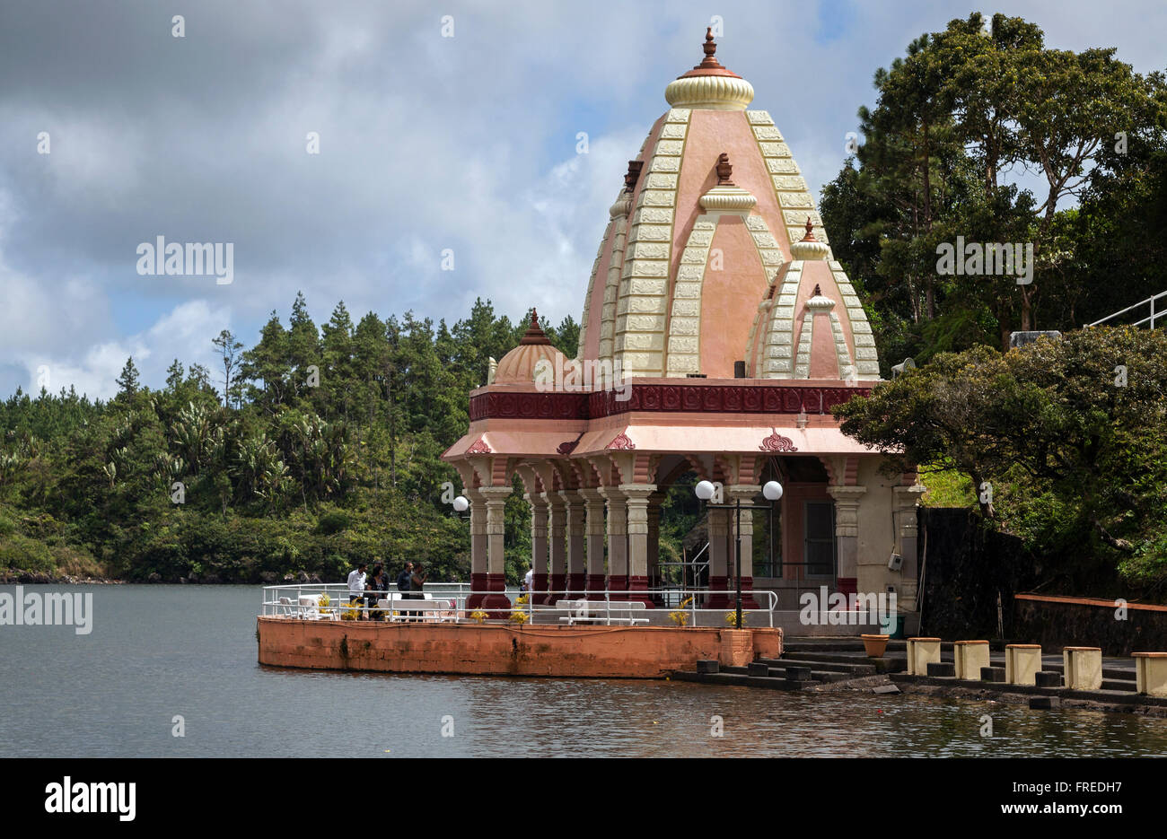 Hindu temple, sacred crater lake Grand Bassin or Ganga Talao, Mauritius - Stock Image