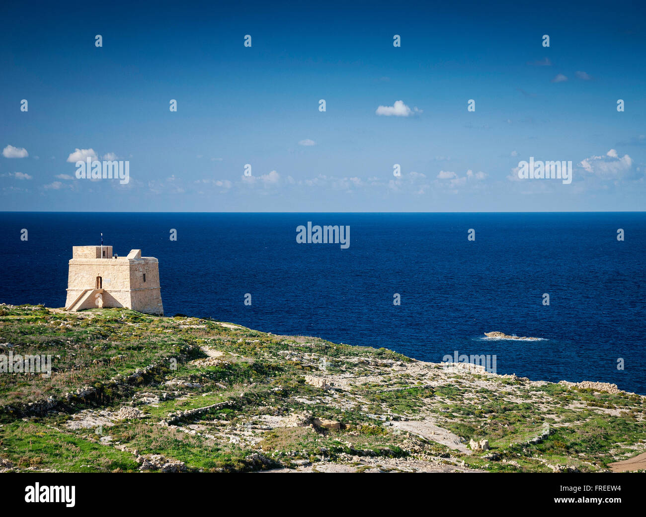 fort and Mediterranean coast view of gozo island in malta - Stock Image