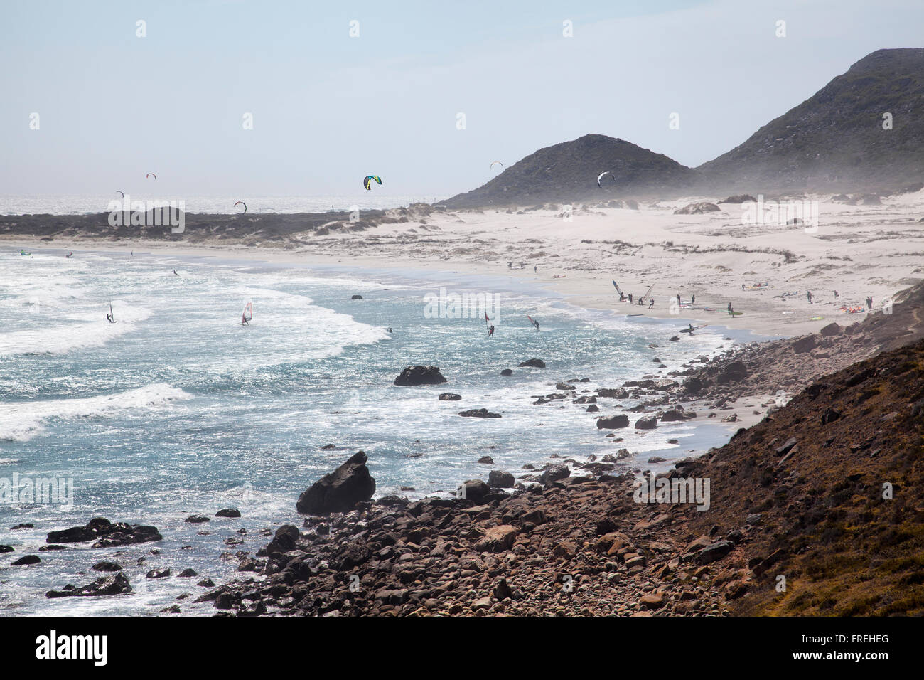 Scarborough Kitesurfers on Cape Peninsula - South Africa - Stock Image