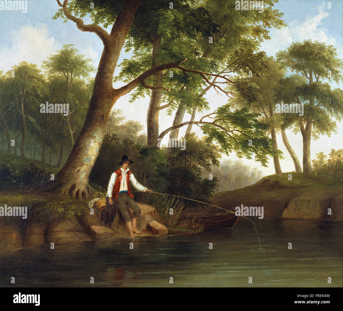 Robert Scott Duncanson - Man Fishing - Stock Image
