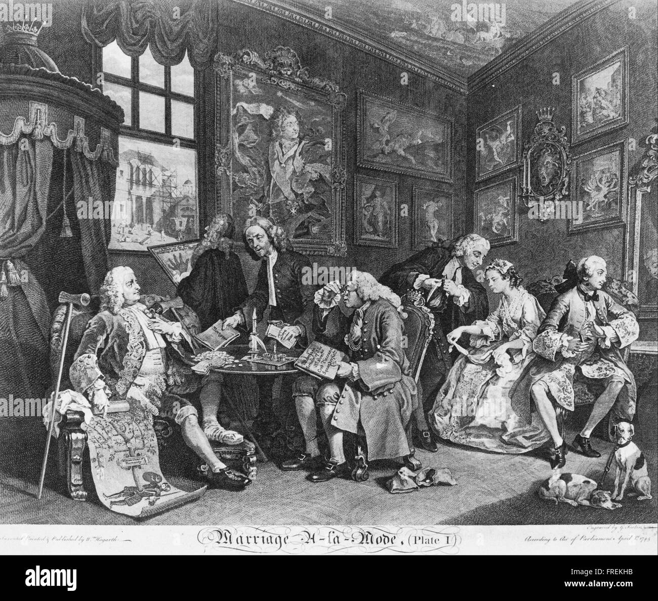 William Hogarth - Marriage à la Mode, Plate 1, (The Marriage Contract) Stock Photo
