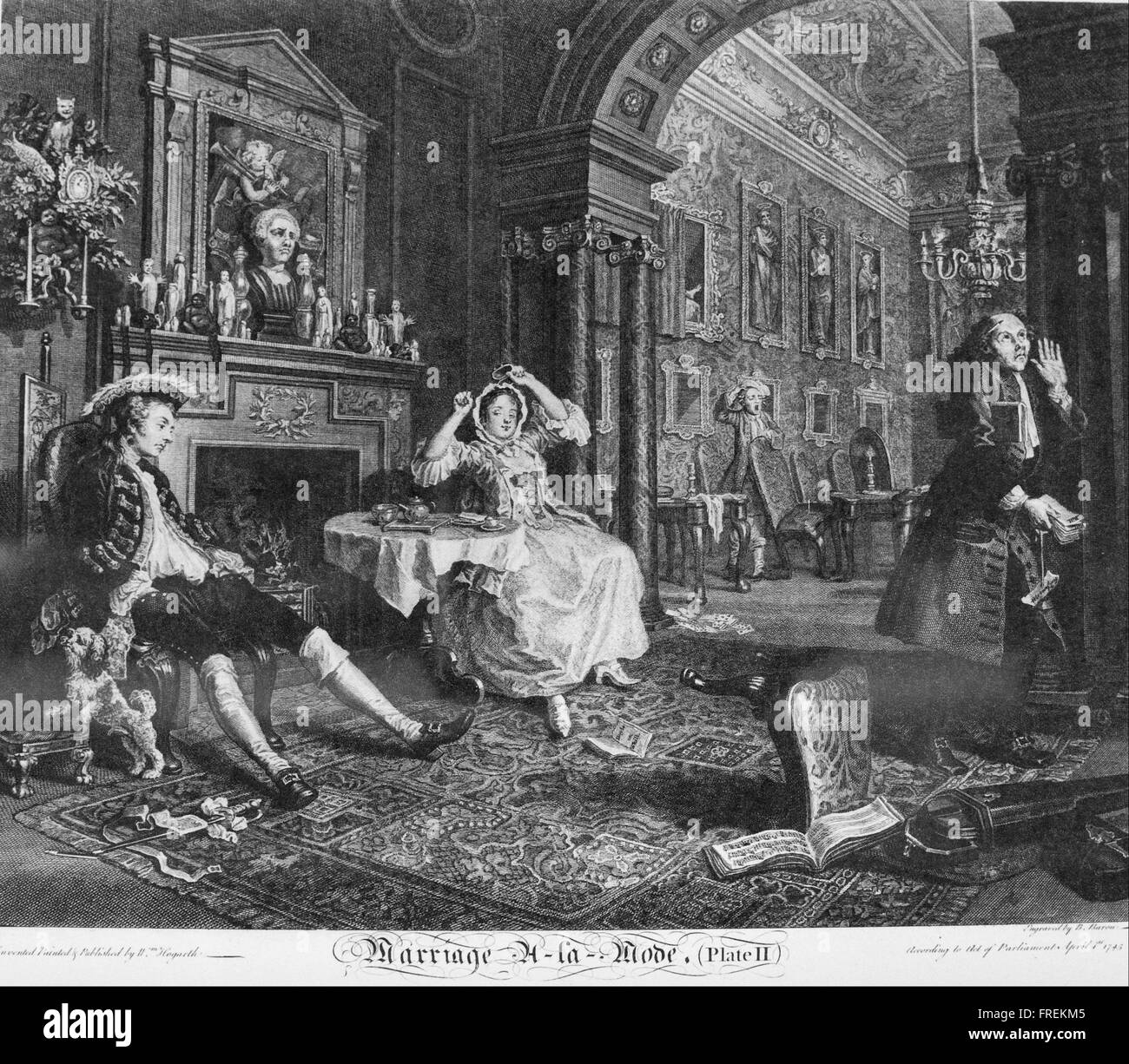 William Hogarth - Marriage à la Mode, Plate 2, (Early in the Morning) Stock Photo