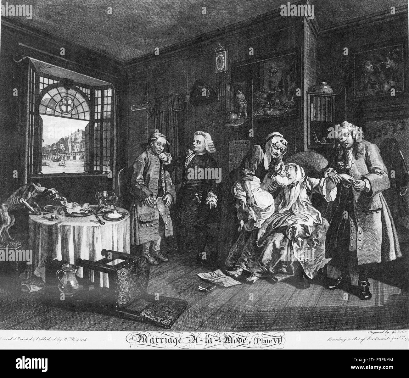 William Hogarth - Marriage à la Mode, Plate 6, (The Death of the Countess) Stock Photo