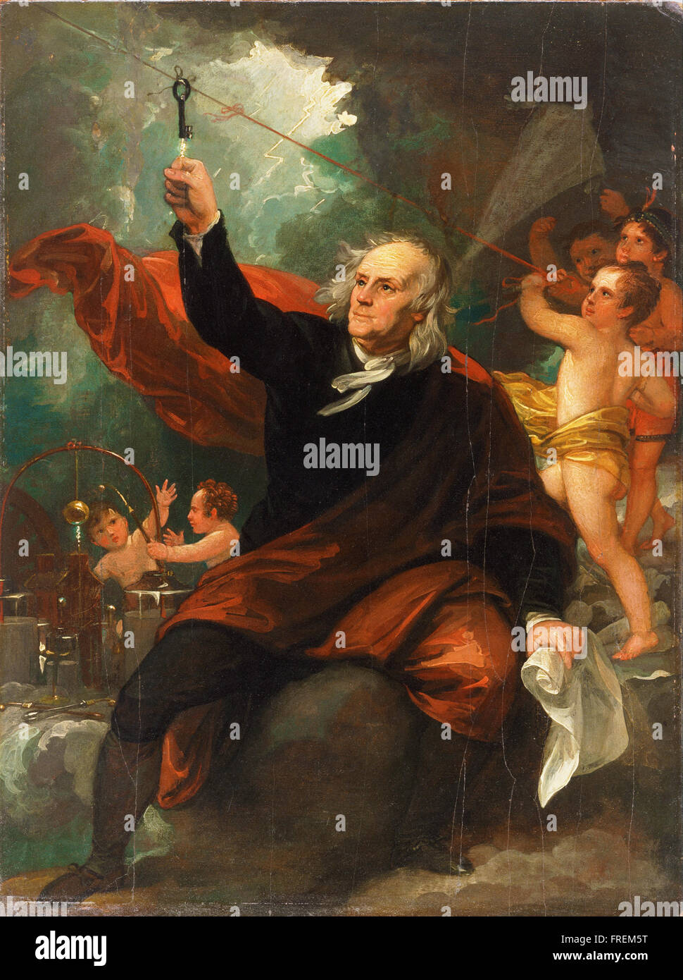 Benjamin West, English (born America) - Benjamin Franklin Drawing Electricity from the Sky Stock Photo