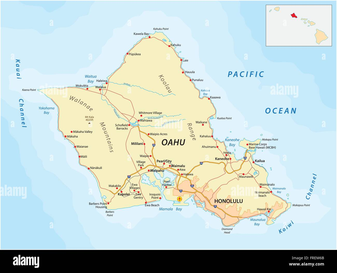 road map of oahu Oahu Map High Resolution Stock Photography And Images Alamy road map of oahu