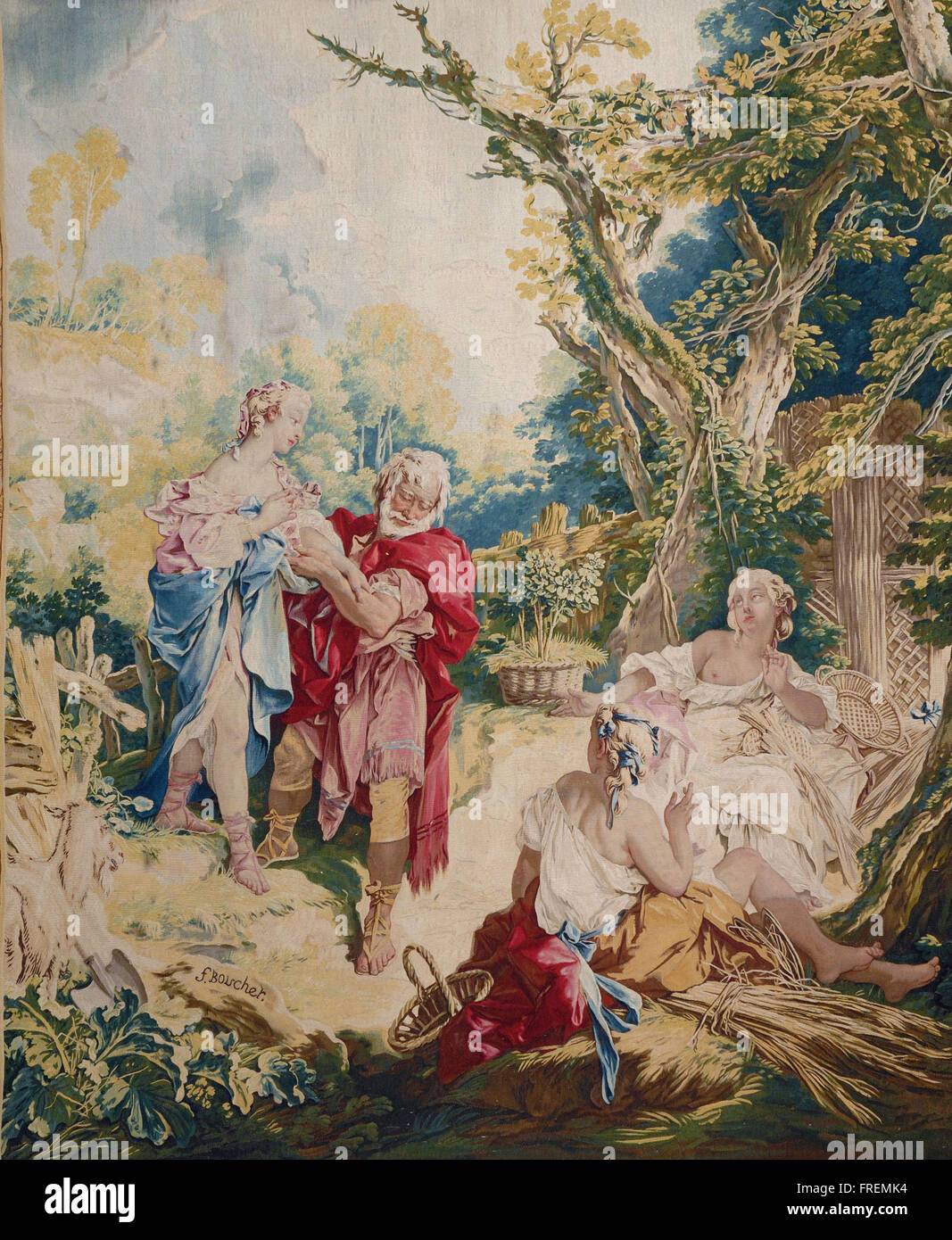 Designed by François Boucher, French - Tapestry showing Psyche and the Basketmaker - Stock Image