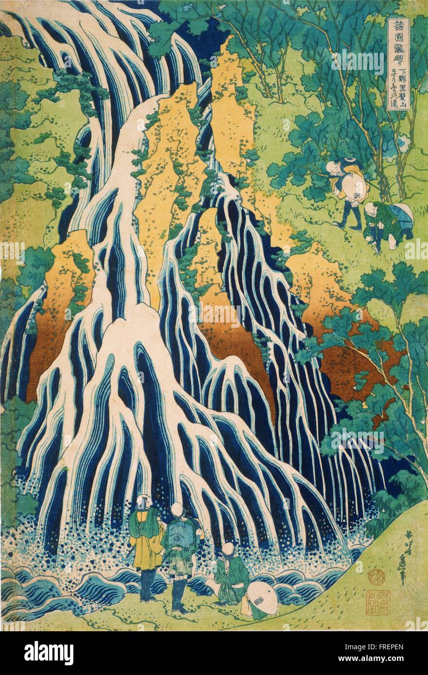 Katsushika Hokusai, Japanese - Pilgrims at Kirifuri Waterfall on Mount Kurokami in Shimotsuke - Stock Image