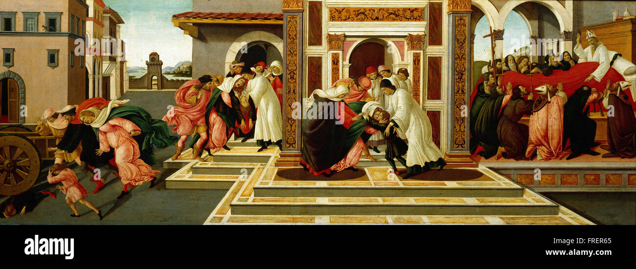 Sandro Botticelli -  Last Miracle and the Death of St. Zenobius - Stock Image