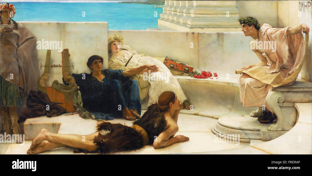Sir Lawrence Alma-Tadema, English (born Netherlands) - A Reading from Homer - Stock Image