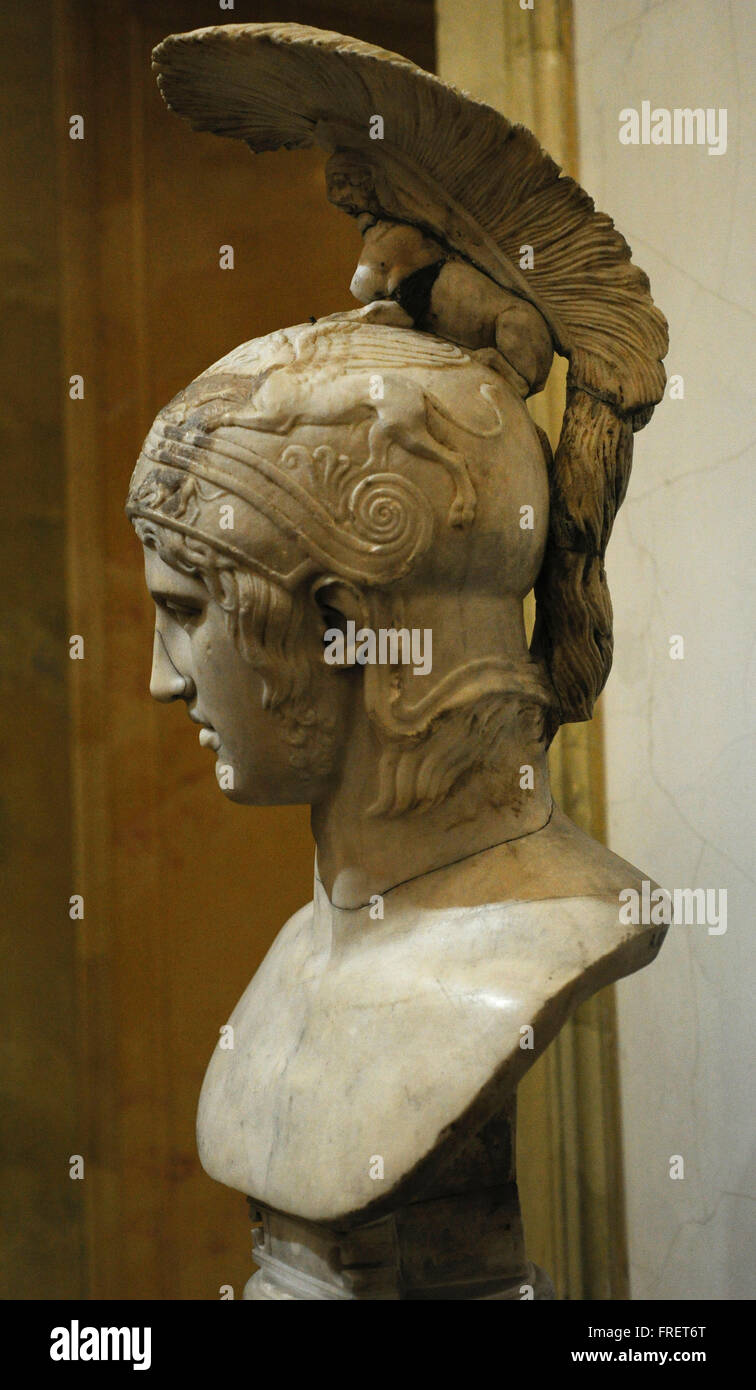 Head of Ares, god of war. Roman work. Early 2nd c. AD. After the Greek original of the 420 BC by Alkamenes. The - Stock Image